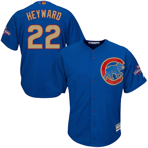 Youth Majestic Chicago Cubs #22 Jason Heyward Authentic Royal Blue 2017 Gold Champion Cool Base MLB Jersey