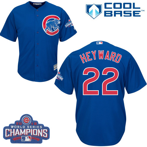 Youth Majestic Chicago Cubs #22 Jason Heyward Authentic Royal Blue Alternate 2016 World Series Champions Cool Base MLB Jersey