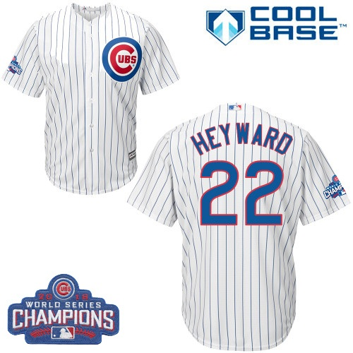 Youth Majestic Chicago Cubs #22 Jason Heyward Authentic White Home 2016 World Series Champions Cool Base MLB Jersey