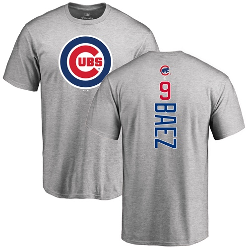 MLB Nike Chicago Cubs #9 Javier Baez Ash Backer T-Shirt