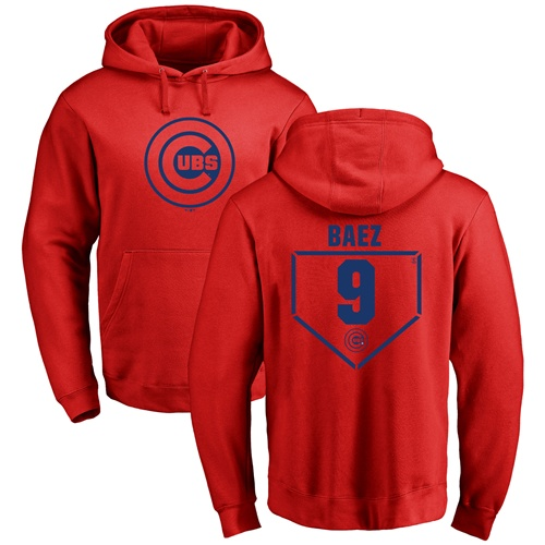 MLB Nike Chicago Cubs #9 Javier Baez Red RBI Pullover Hoodie