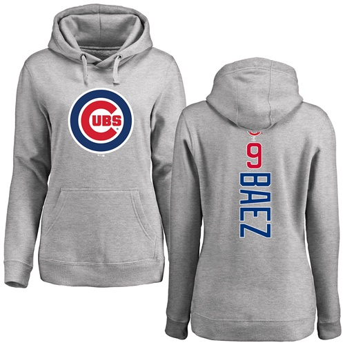 MLB Women's Nike Chicago Cubs #9 Javier Baez Ash Backer Pullover Hoodie