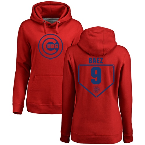 MLB Women's Nike Chicago Cubs #9 Javier Baez Red RBI Pullover Hoodie