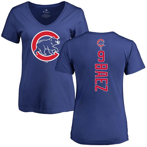 MLB Women's Nike Chicago Cubs #9 Javier Baez Royal Blue Backer T-Shirt