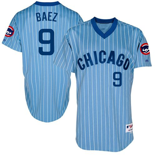 Men's Majestic Chicago Cubs #9 Javier Baez Authentic Blue Cooperstown Throwback MLB Jersey