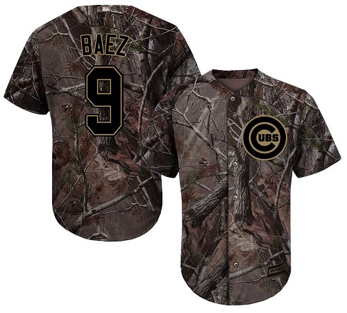 Men's Majestic Chicago Cubs #9 Javier Baez Authentic Camo Realtree Collection Flex Base MLB Jersey