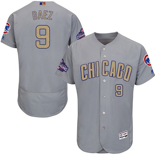 Men's Majestic Chicago Cubs #9 Javier Baez Authentic Gray 2017 Gold Champion Flex Base MLB Jersey