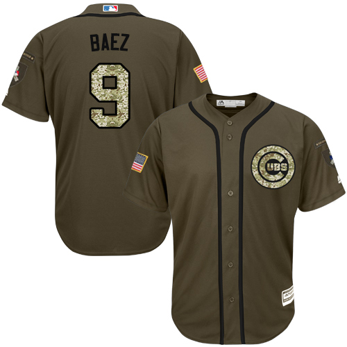 Men's Majestic Chicago Cubs #9 Javier Baez Authentic Green Salute to Service MLB Jersey