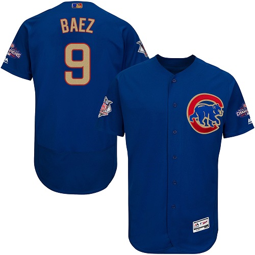Men's Majestic Chicago Cubs #9 Javier Baez Authentic Royal Blue 2017 Gold Champion Flex Base MLB Jersey