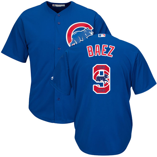 Men's Majestic Chicago Cubs #9 Javier Baez Authentic Royal Blue Team Logo Fashion Cool Base MLB Jersey