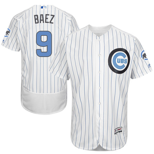 Men's Majestic Chicago Cubs #9 Javier Baez Authentic White 2016 Father's Day Fashion Flex Base MLB Jersey