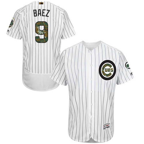 Men's Majestic Chicago Cubs #9 Javier Baez Authentic White 2016 Memorial Day Fashion Flex Base MLB Jersey