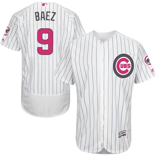 Men's Majestic Chicago Cubs #9 Javier Baez Authentic White 2016 Mother's Day Fashion Flex Base MLB Jersey