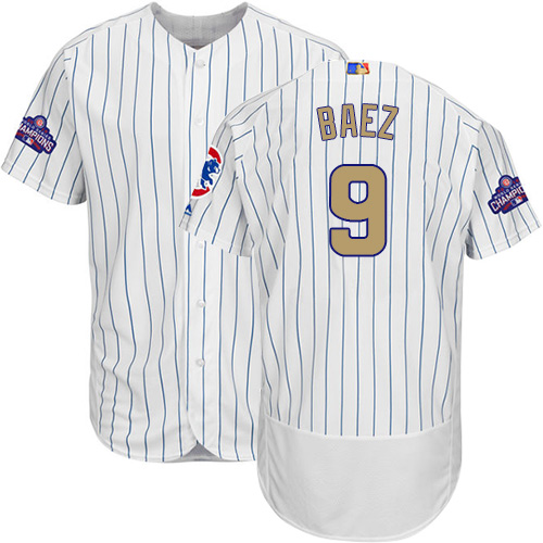 Men's Majestic Chicago Cubs #9 Javier Baez Authentic White 2017 Gold Program Flex Base MLB Jersey