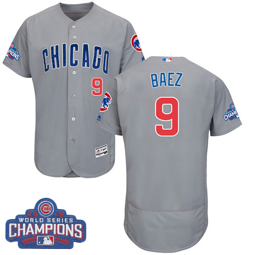 Men's Majestic Chicago Cubs #9 Javier Baez Grey 2016 World Series Champions Flexbase Authentic Collection MLB Jersey