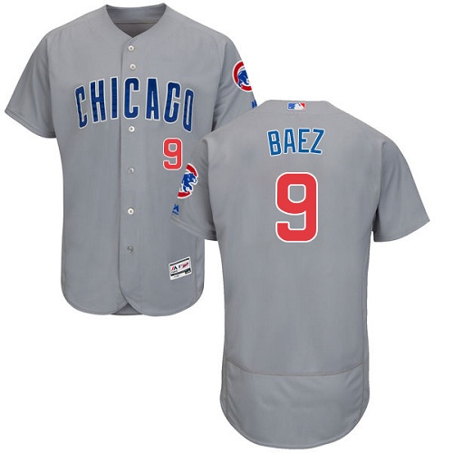 Men's Majestic Chicago Cubs #9 Javier Baez Grey Road Flex Base Authentic Collection MLB Jersey