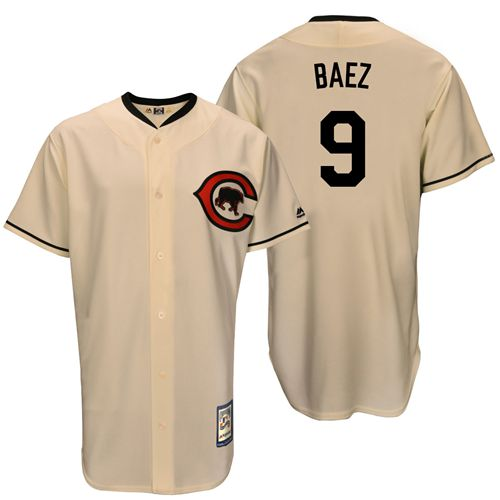 Men's Majestic Chicago Cubs #9 Javier Baez Replica Cream Cooperstown Throwback MLB Jersey