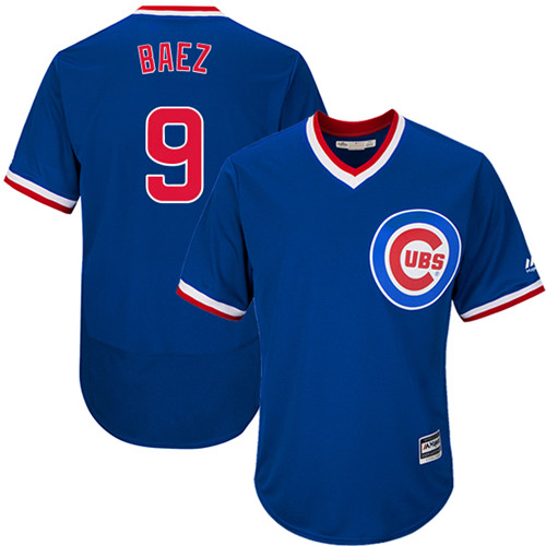 Men's Majestic Chicago Cubs #9 Javier Baez Replica Royal Blue Cooperstown Cool Base MLB Jersey