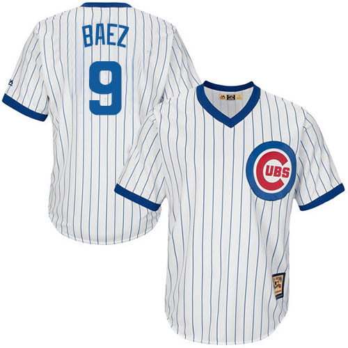 Men's Majestic Chicago Cubs #9 Javier Baez Replica White Home Cooperstown MLB Jersey