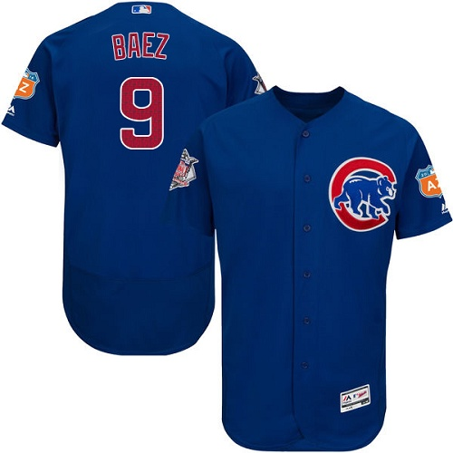 Men's Majestic Chicago Cubs #9 Javier Baez Royal Blue Alternate Flex Base Authentic Collection MLB Jersey