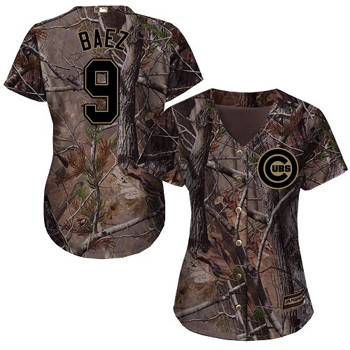 Women's Majestic Chicago Cubs #9 Javier Baez Authentic Camo Realtree Collection Flex Base MLB Jersey