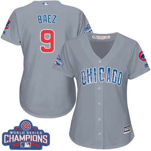 Women's Majestic Chicago Cubs #9 Javier Baez Authentic Grey Road 2016 World Series Champions Cool Base MLB Jersey