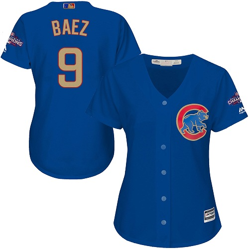 Women's Majestic Chicago Cubs #9 Javier Baez Authentic Royal Blue 2017 Gold Champion MLB Jersey