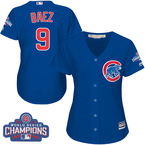 Women's Majestic Chicago Cubs #9 Javier Baez Authentic Royal Blue Alternate 2016 World Series Champions Cool Base MLB Jersey
