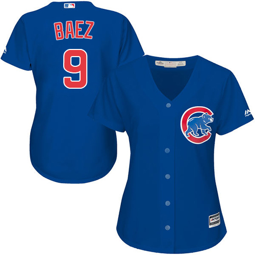 Women's Majestic Chicago Cubs #9 Javier Baez Authentic Royal Blue Alternate MLB Jersey