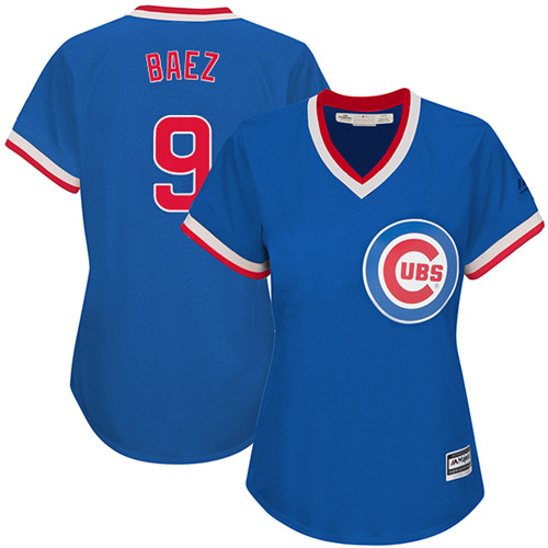 Women's Majestic Chicago Cubs #9 Javier Baez Authentic Royal Blue Cooperstown MLB Jersey