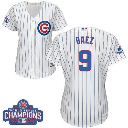 Women's Majestic Chicago Cubs #9 Javier Baez Authentic White Home 2016 World Series Champions Cool Base MLB Jersey