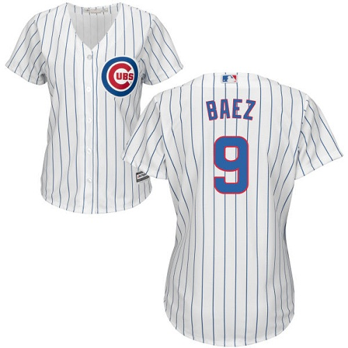 Women's Majestic Chicago Cubs #9 Javier Baez Authentic White Home Cool Base MLB Jersey
