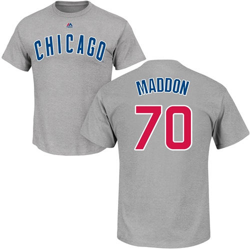 MLB Nike Chicago Cubs #70 Joe Maddon Gray Name & Number T-Shirt