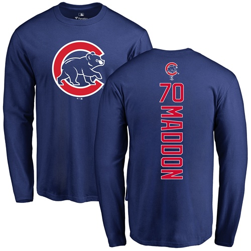 MLB Nike Chicago Cubs #70 Joe Maddon Royal Blue Backer Long Sleeve T-Shirt
