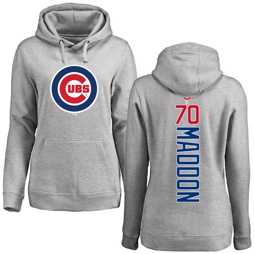 MLB Women's Nike Chicago Cubs #70 Joe Maddon Ash Backer Pullover Hoodie
