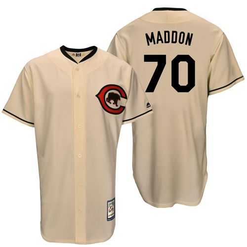 Men's Majestic Chicago Cubs #70 Joe Maddon Authentic Cream Cooperstown Throwback MLB Jersey
