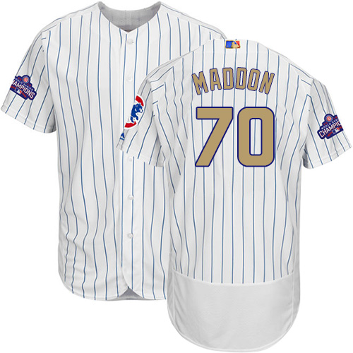 Men's Majestic Chicago Cubs #70 Joe Maddon Authentic White 2017 Gold Program Flex Base MLB Jersey