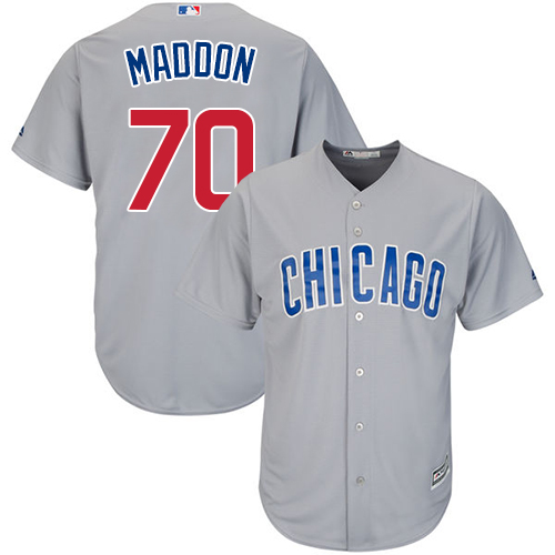 Men's Majestic Chicago Cubs #70 Joe Maddon Replica Grey Road Cool Base MLB Jersey
