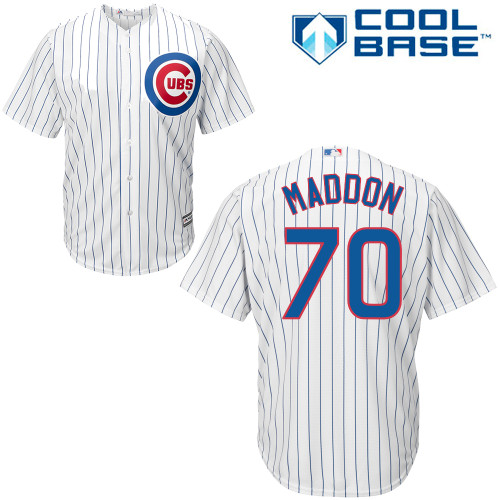 Men's Majestic Chicago Cubs #70 Joe Maddon Replica White Home Cool Base MLB Jersey