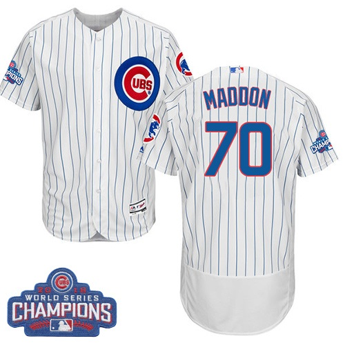 Men's Majestic Chicago Cubs #70 Joe Maddon White 2016 World Series Champions Flexbase Authentic Collection MLB Jersey