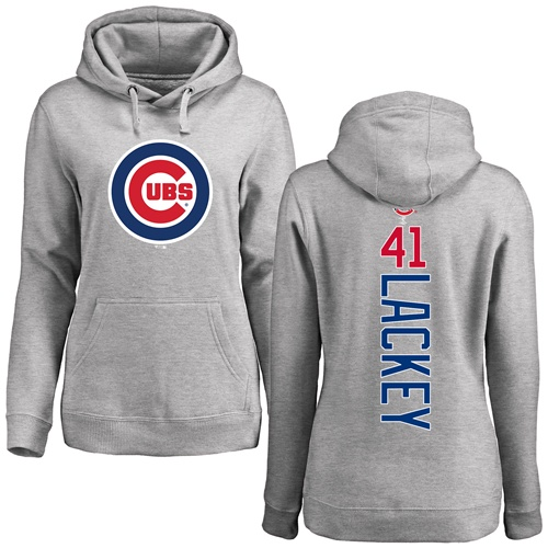 MLB Women's Nike Chicago Cubs #41 John Lackey Ash Backer Pullover Hoodie