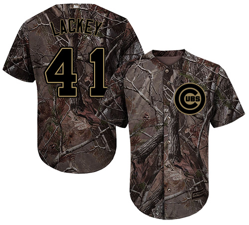 Men's Majestic Chicago Cubs #41 John Lackey Authentic Camo Realtree Collection Flex Base MLB Jersey