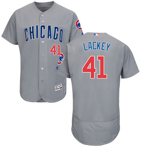 Men's Majestic Chicago Cubs #41 John Lackey Grey Road Flex Base Authentic Collection MLB Jersey