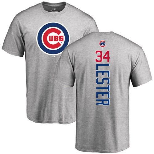 6aed9d9ba MLB Nike Chicago Cubs  34 Jon Lester Ash Backer T-Shirt