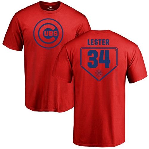MLB Nike Chicago Cubs #34 Jon Lester Red RBI T-Shirt