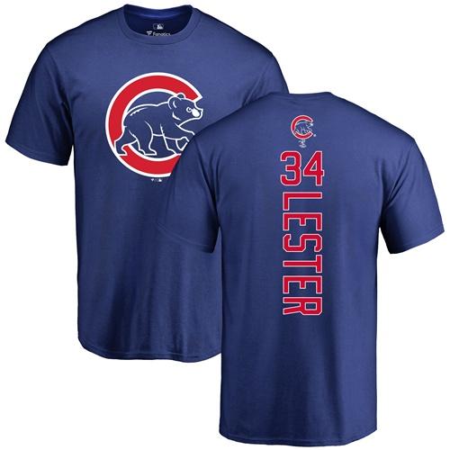 MLB Nike Chicago Cubs #34 Jon Lester Royal Blue Backer T-Shirt