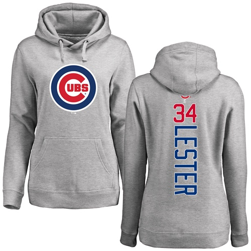 MLB Women's Nike Chicago Cubs #34 Jon Lester Ash Backer Pullover Hoodie