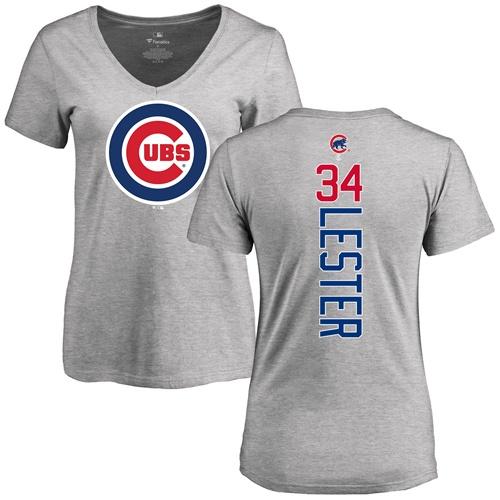 MLB Women's Nike Chicago Cubs #34 Jon Lester Ash Backer T-Shirt