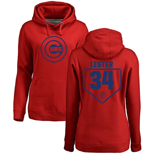 MLB Women's Nike Chicago Cubs #34 Jon Lester Red RBI Pullover Hoodie