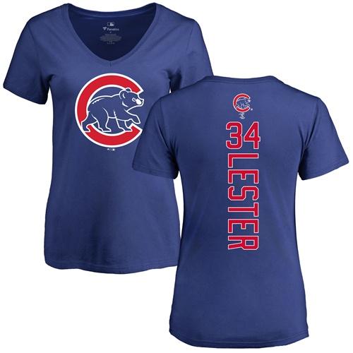 MLB Women's Nike Chicago Cubs #34 Jon Lester Royal Blue Backer T-Shirt